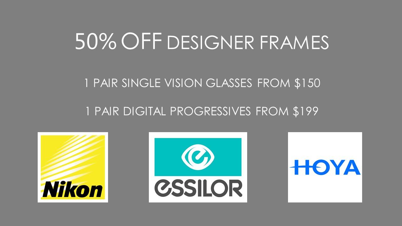 Offer 50% Off Designer Frames